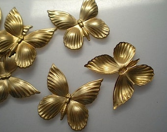 6 large puffy butterfly charms