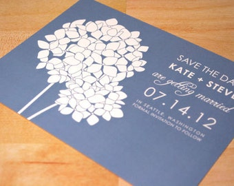 SAMPLE Hydrangea Blooms Save the Date, Flower, Wedding Invitations, Blue, Cream, Vintage, Rustic, Modern