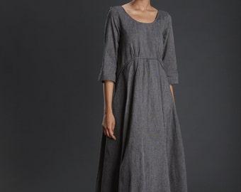 New Collection/ handloom/Charcoal Grey Dress/ Evening Long Dress/ Cotton Dress/ Maxi Dress/ Long Grey Gown/ Beautiful Dress/ Designer Dress