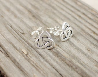 925 Sterling Silver Stud Earrings Celtic Triskel Celtic Knot