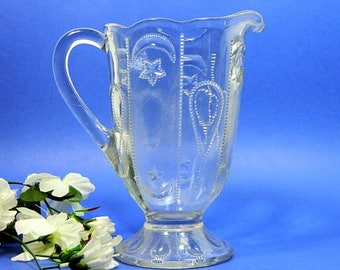 Antique EAPG Pressed Glass Pitcher Shrine Jeweled Moon and Star