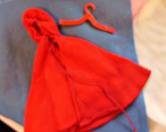 """1964 Red Riding Hood *RED FLANNEL CAPE"""" -Vintage Barbie Little Theater Costume Outfit"""