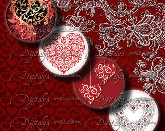 Valentine Hearts - Digital Collage Sheet - 48 Circles 1inch - 25mm - smaller sizes available - Buy 3 Get 1 Extra Free