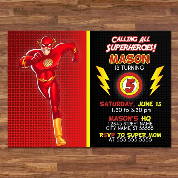 The Flash Invite - Red and Yellow - The Flash Invitation - The Flash Birthday Party - Printable Invitation - Flash Superhero Party Favors