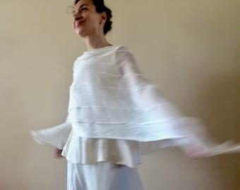 creamy linen poncho, bridal cape, women's artsy poncho, wedding cape, summer wrap, white flax scarf, wedding poncho, gift for her OOAK 289