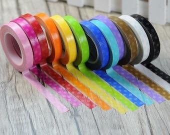 Polka Dots Washi Tape - Planner Colored Masking Adhesive - Kawaii Washi Tape - Scrapbooking Washi Tape- 8mm*11mt -Choose Your Fav Colour