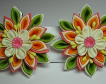Kanzashi Tsumami Fabric Flowers. Set of 2 Hair Clips. Ivory, Orange, Light Green and Peach. Grosgrain Ribbon