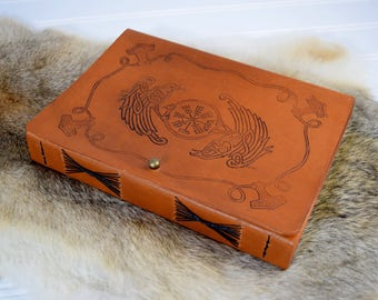 Viking Leather Journal // Personalized Leather Book with Norse Ravens and Vegvisir Compass