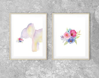 Floral Elephant Wall Art Elephant Baby Shower Elephant Decor Elephant Nursery Decor Nursery Wall Art Set Woodland Nursery Baby Girl Nursery