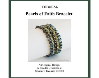 Beading Tutorial, Pearls of Faith Bracelet. Beading Pattern with Pearls and Rondell or Pearl Beads. Beading Schema, Beadweaving, Beadwork