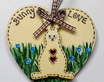 Wooden Heart Easter Hanging Decoration
