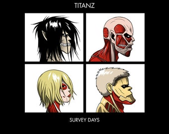 Titanz Survey Days - Anime SNK Gorillaz Parody Men's Unisex T-Shirt - Anime Manga Clothing