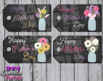 Printable MOTHER'S DAY Gift TAGS - Mothers Day Tags - Mason Jar and Flowers Gift Tags - Mother's Day Tags - Instant Download
