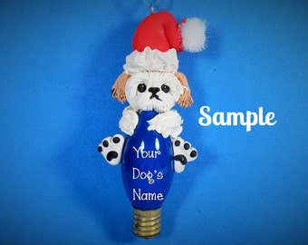Lhasa Apso Santa Dog OOAK Christmas Holidays Light Bulb Ornament Sally's Bits of Clay PERSONALIZED FREE with dog's name
