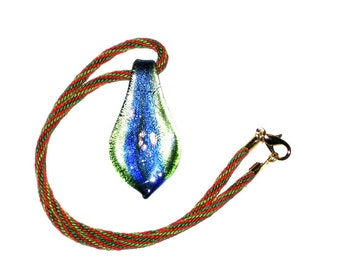Green and Red Kumihimo necklace with blue, green, copper pendant