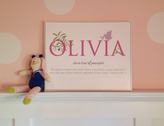 OLIVIA Name Art Canvas with Name Meaning and Scripture Verse, 16x20 - wall art baby name meaning