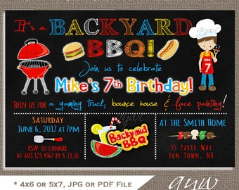 Backyard BBQ Birthday Party Invitation Boy Birthday Invitation BBQ Party Printable Invitations Backyard Barbecue Party Invites Chalkboard