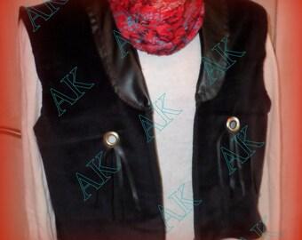 US black velvet and faux leather vest