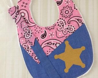 Cute Baby Girl Western Sheriff Bib with Binky Clip, Pink Bandana Bib, Cute Baby Shower Gift Gir Baby Bib, Sheriff BabyBib, Pink & Denim bib