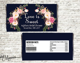 Chocolate Wrappers, Personalized Wrapper, Boho Printable Candy Bar Wrappers, Floral Chocolate Wrapper, Bridal Shower, Wedding Favor Wrapper