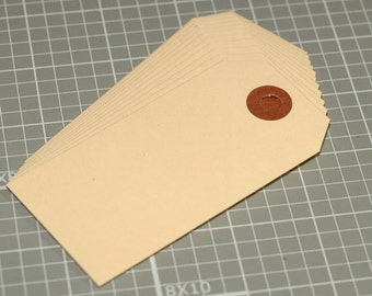 "Manila Tags (50) 3-3/4"" x 1-7/8"" Seller Supplies Hang Tags Price Tags Shipping Tags Reinforced Hole Size 3 Plain Blank Merchandise Tags"