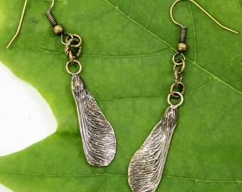 Maple Key Earrings Bronze Maple Seed Earrings Samara Earrings 019