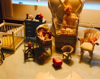 Vintage Miniature Nursery Baby Room Dollhouse Furniture And Accessories