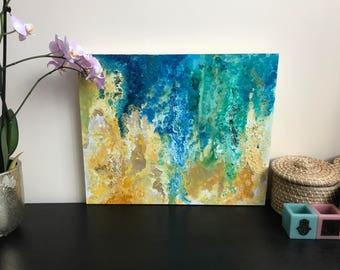 Medium Sized Abstract Wall Art With Vibrant Blue and Green Tones