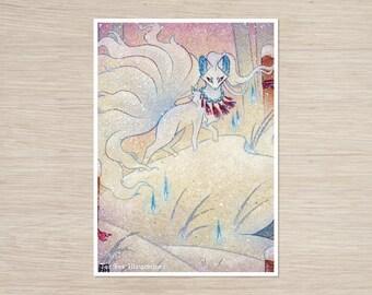 Alolan Ninetales / Fox Kitsune Yokai / Japanese Style Art / 5x7 Fine Art Print