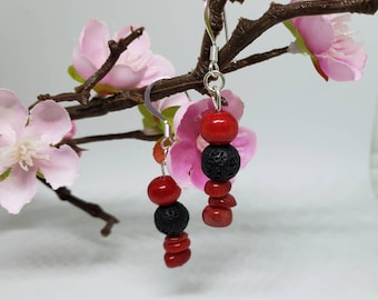 Earrings-Lava Stones-Red-Jade-Bamboo Coral-Diffuser-French Hook Earrings-Diffuser Earrings-Natural Stone-Boho