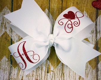 Inital hair bow / monogram hair bow / personalized hair bow / red and white hair bow
