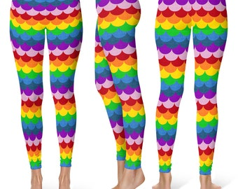 Rainbow Leggings Yoga Pants, Multicolor Yoga Tights, Bright Rainbow Mermaid Scales