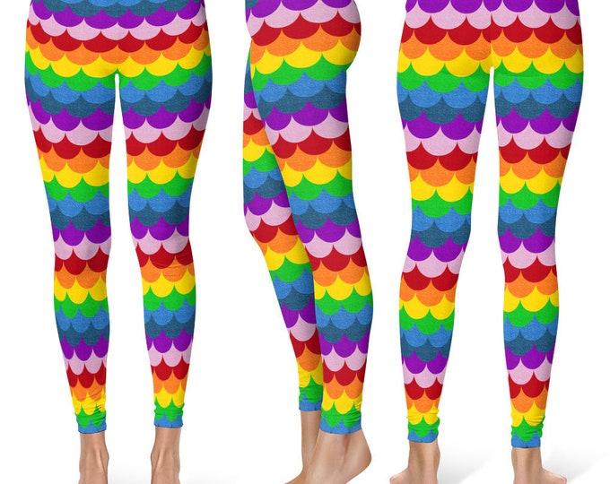 Rainbow Leggings Yoga Pants, Multicolor Yoga Tights, Bright Rainbow Mermaid Scales