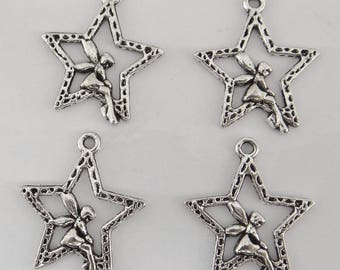 8 charms bc139 antiqued silver fairy and star shape pendant
