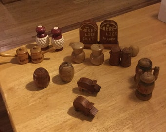 Antique wooden salt and peppet shakers