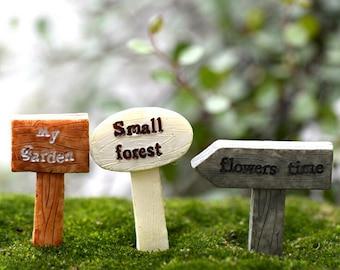 3Pcs Resin sign board bonsai Figurines Micro Landscape Crafts signboard miniatures fairy garden moss terrarium decor
