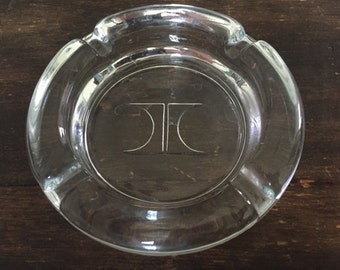 Vintage Round Glass Hilton Hotel Ashtray / 1970s / Travel / Logo / Motel / Inn