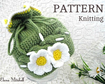 Knitting PATTERN Baby Hat Baby Bonnet Baby Girl Pattern Knitted Baby Beanie Baby Cap Pattern Infant Hat Knit Babies Newborn Hat PDF