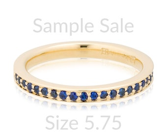 Size 5.75 Ready To Ship, Blue Sapphire Anniversary Band, Blue Sapphire Engagement Ring, Sample Sale