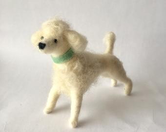 Needle Felted White Poodle Dog