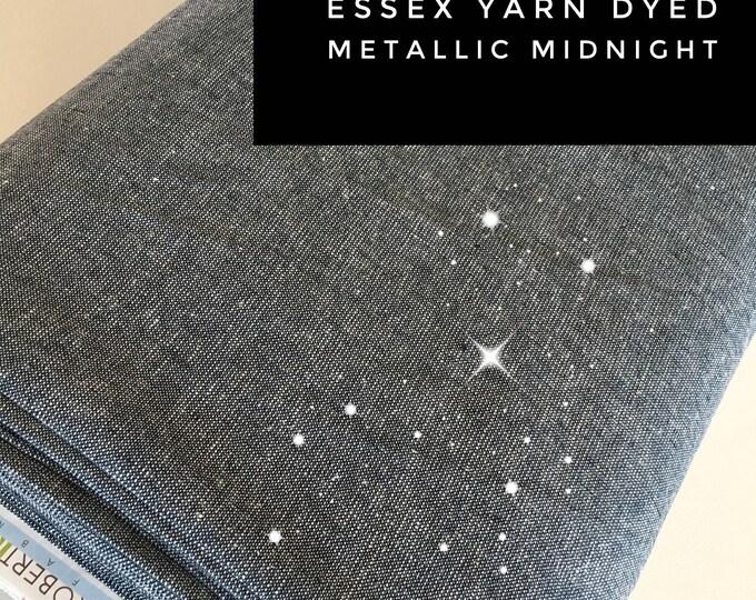 Linen fabric, Rustic Wedding, Wedding Decor, Linen Dress, Cotton Linen, Metallic Silver Navy Fabric, Metallic Essex in Midnight