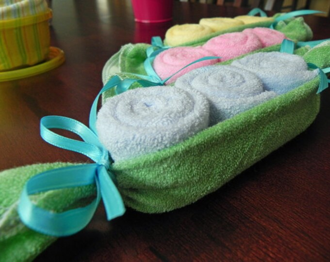 Baby Washcloth Pea Pod - Unique Baby Shower Gifts and Favors