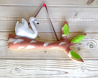 """mobile """"branch of tree and its swan"""", decoration children's room."""