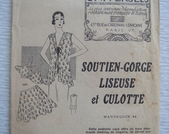 vintage French Patrons Universels LINGERIE sewing pattern 1943