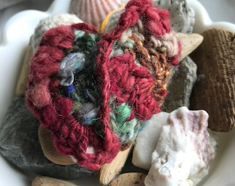 Freeform Crochet embellished heart ornament that is perfect for any occasion or season.