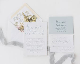 Dusty Blue Wedding Invitations printed on Cotton Cardstock with Hand Torn Edge and Botanical Envelope Liners  - Sample Set