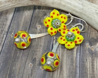 """Bulb and blossom lampwork Artisan Made Earrings by Howubeadddoin * exclusive design 2 3/4"""""""