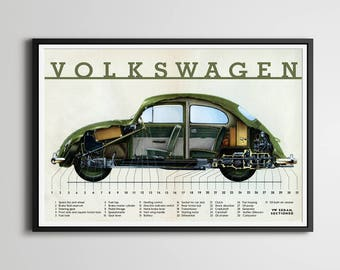 "1958 Volkswagen Beetle POSTER! - (Full Size 24"" x 36"" or smaller) - VW Bug - Vintage Cars - Original - Cutout - Phantom View"