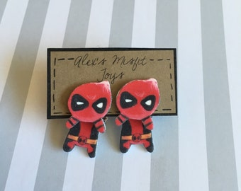 Kawaii Deadpool Clinging Faux Gauge Earrings