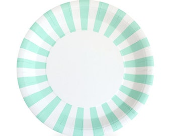 Mint and white paper plates. Set of 12. Mint green and white striped paper  sc 1 st  Etsy & Light blue and white paper plates. Set of 12. Baby blue and